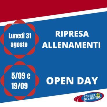RIPRESA ALLENAMENTI & OPEN DAY